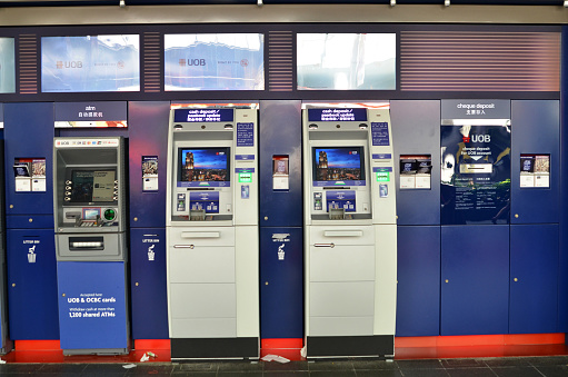 Singapore- May 1, 2017: ATM of United Overseas Bank UOB in Singapore, one of the largest banks in South-East Asia