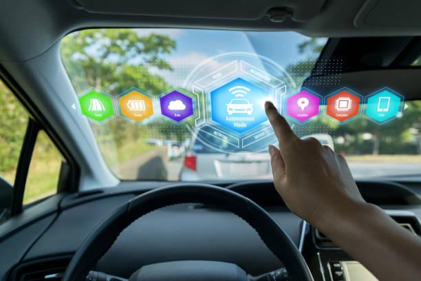 HUD (Head up Display) av fordonet koncept. bildbanksfoto