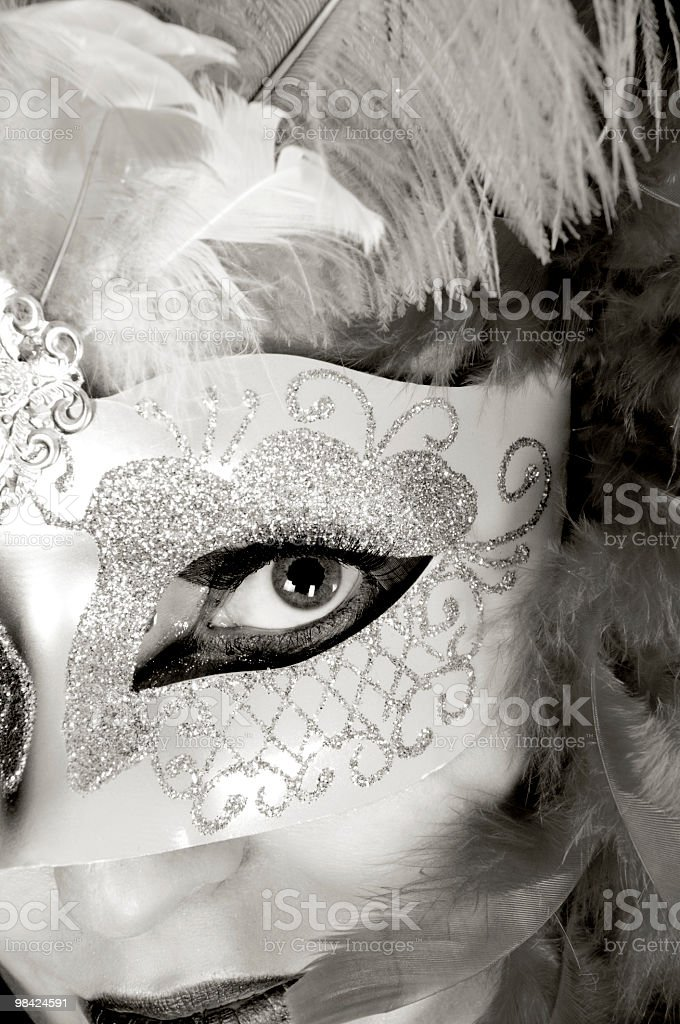 B&W of woman in mardigras style mask. royalty-free stock photo