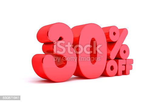 530872967 istock photo 30% Off 3D Render Red Word Isolated in White Background 530871941