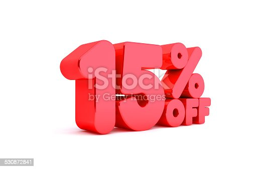 530872967 istock photo 15% Off 3D Render Red Word Isolated in White Background 530872841