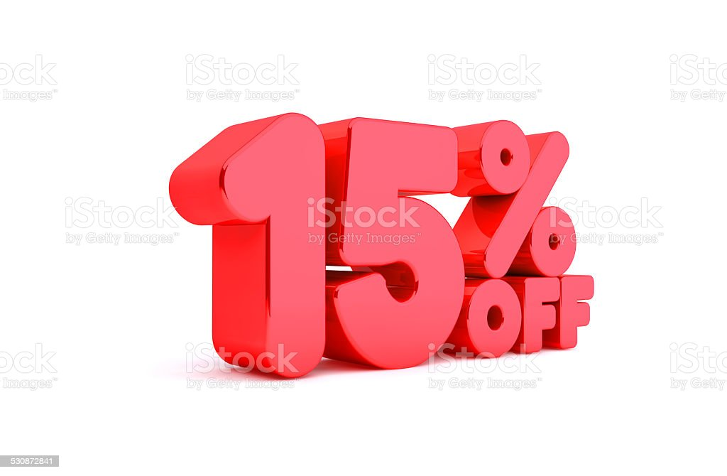15% Off 3D Render Red Word Isolated in White Background stock photo