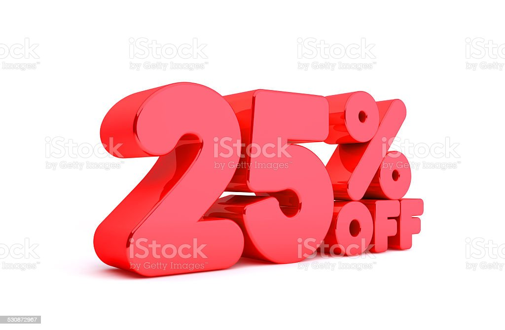 25% Off 3D Render Red Word Isolated in White Background stock photo