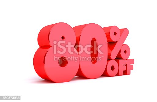 530872967 istock photo 80% Off 3D Render Red Word Isolated in White Background 530873935