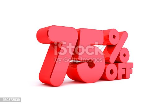 530872967 istock photo 75% Off 3D Render Red Word Isolated in White Background 530873939