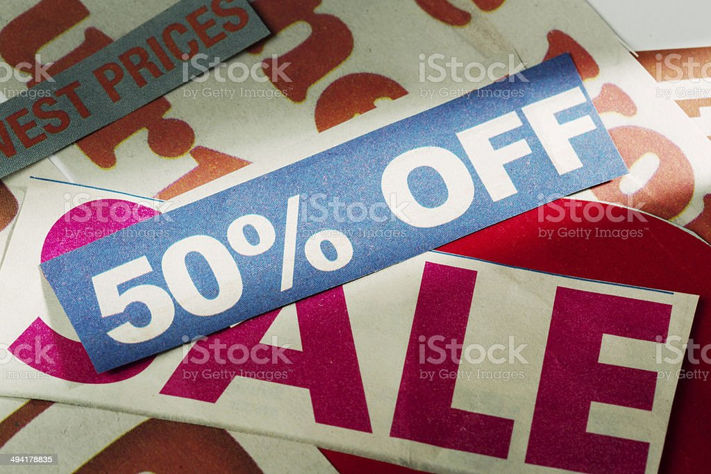 50% off and Sale say press cuttings: good shopping news! stock photo