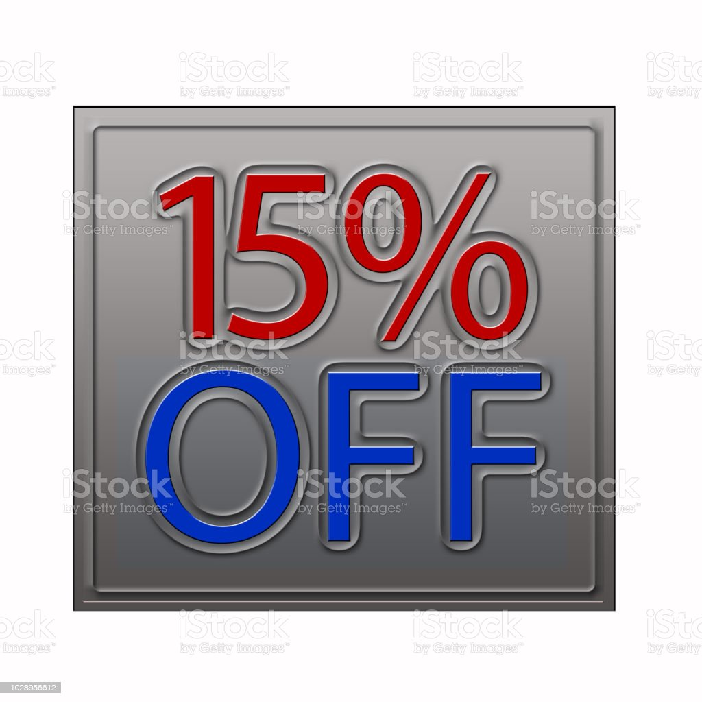15% Off Discount Offer 3d illustration stock photo