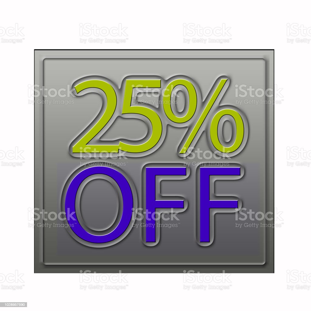 25% Off Discount Offer 3d illustration stock photo