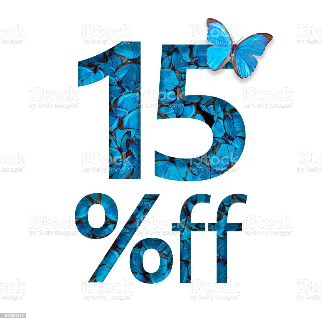 15% off discount. The concept of spring or sammer sale, stylish poster, banner, promotion, ads. stock photo