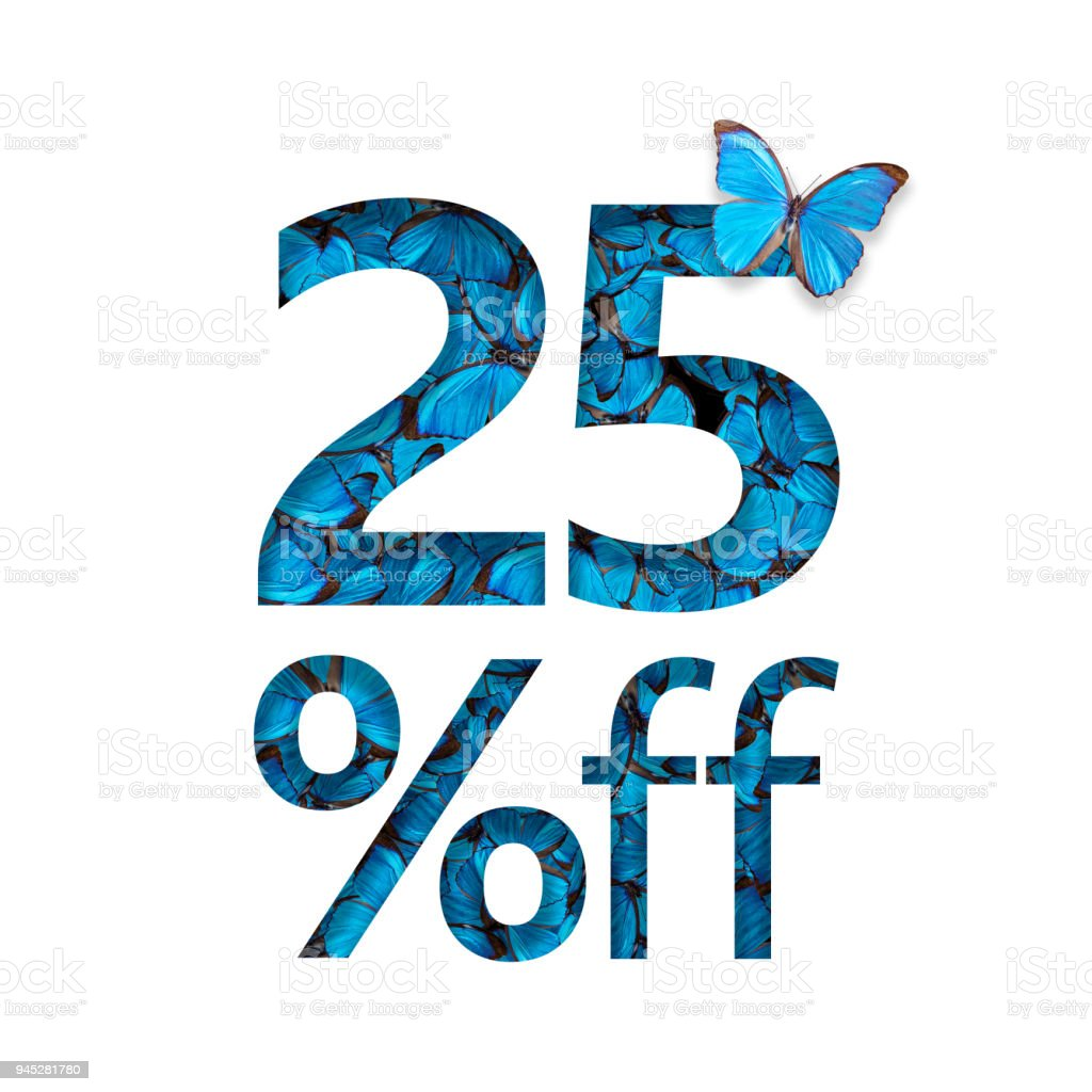 25% off discount. The concept of spring or sammer sale, stylish poster, banner, promotion, ads. stock photo
