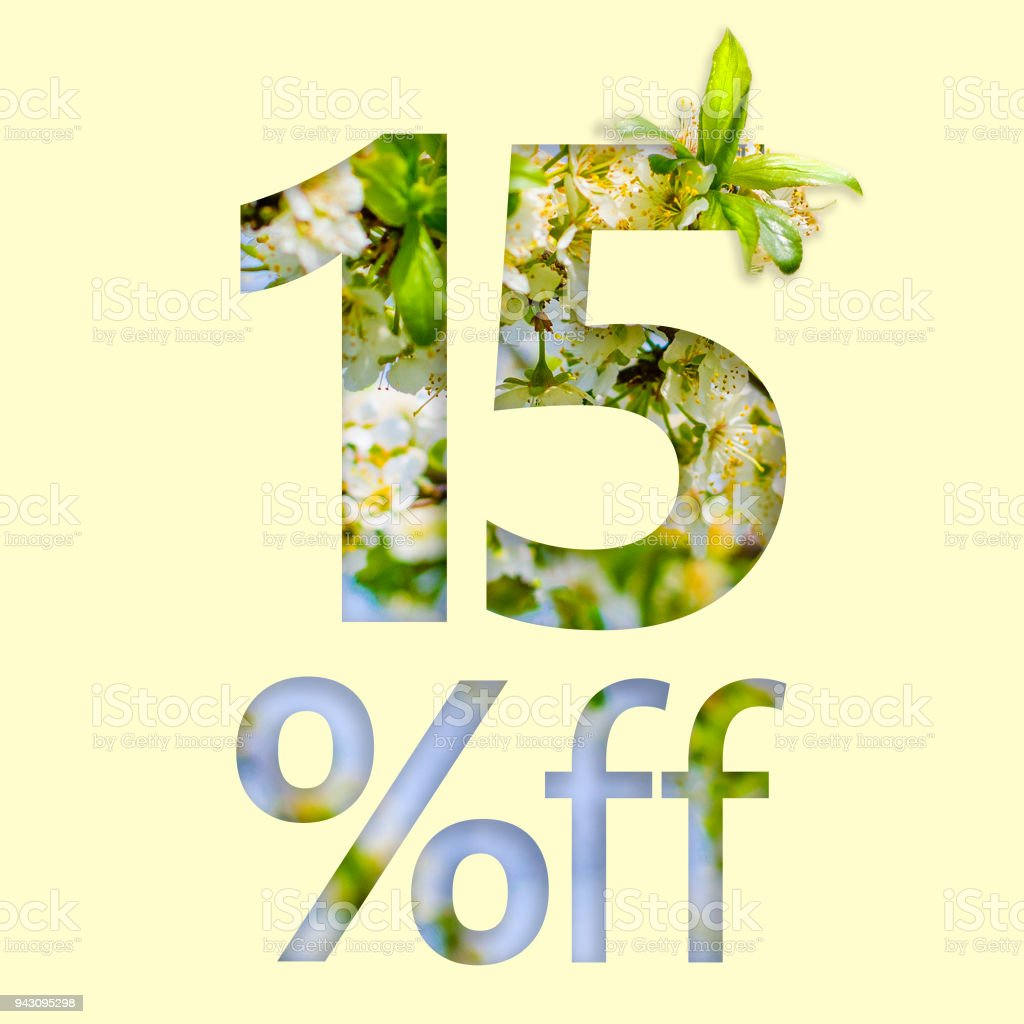 15% off discount. The concept of spring sale, stylish poster, banner, promotion, ads. stock photo
