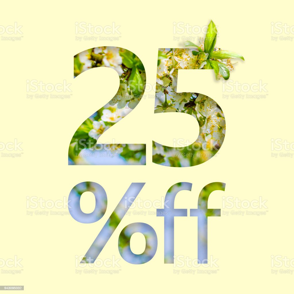 25% off discount. The concept of spring sale, stylish poster, banner, promotion, ads. stock photo
