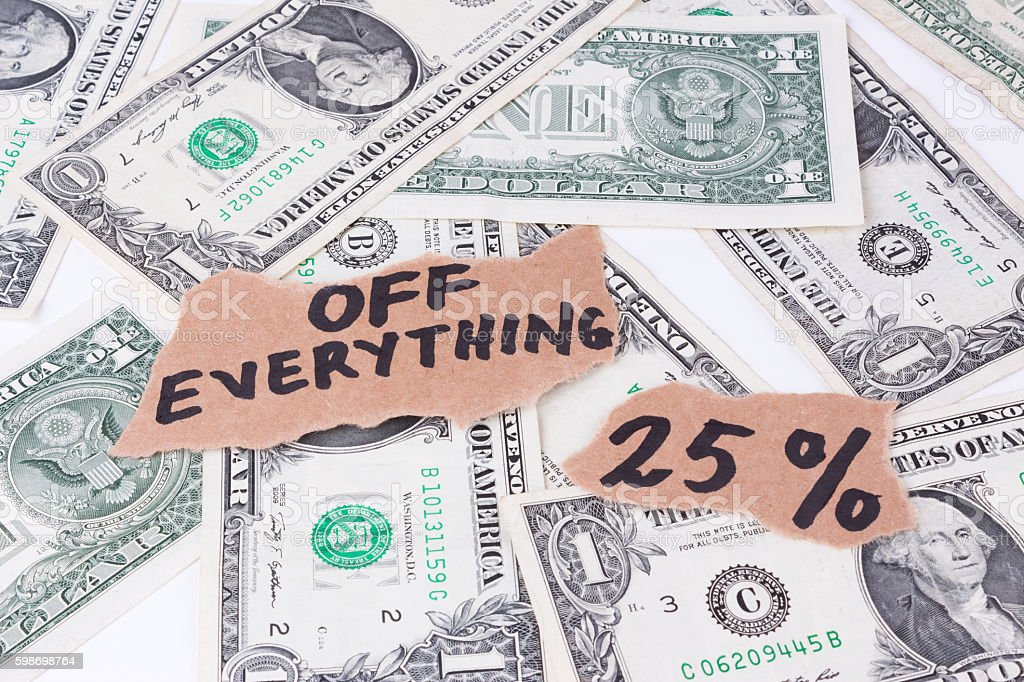 off everything, twenty five percent stock photo