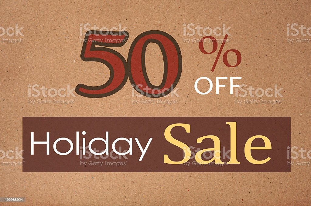 50% Off Holiday Sale - Recycled/Brown Texture stock photo