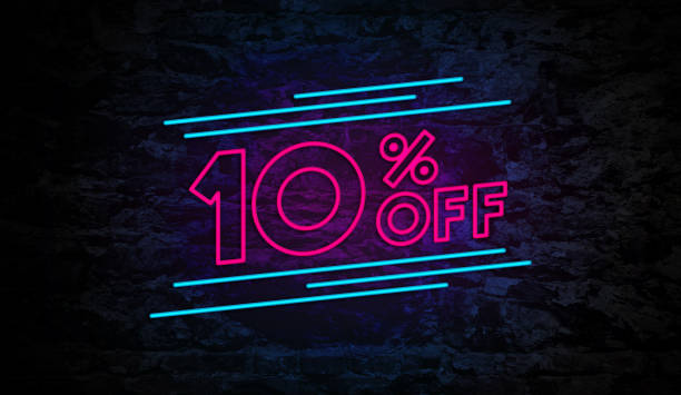 10% off neon sign on brick wall - cheap stock pictures, royalty-free photos & images