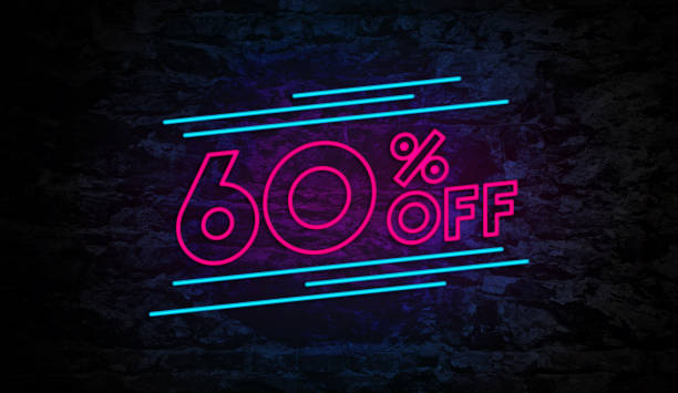 60% Off Neon Sign on Brick Wall stock photo