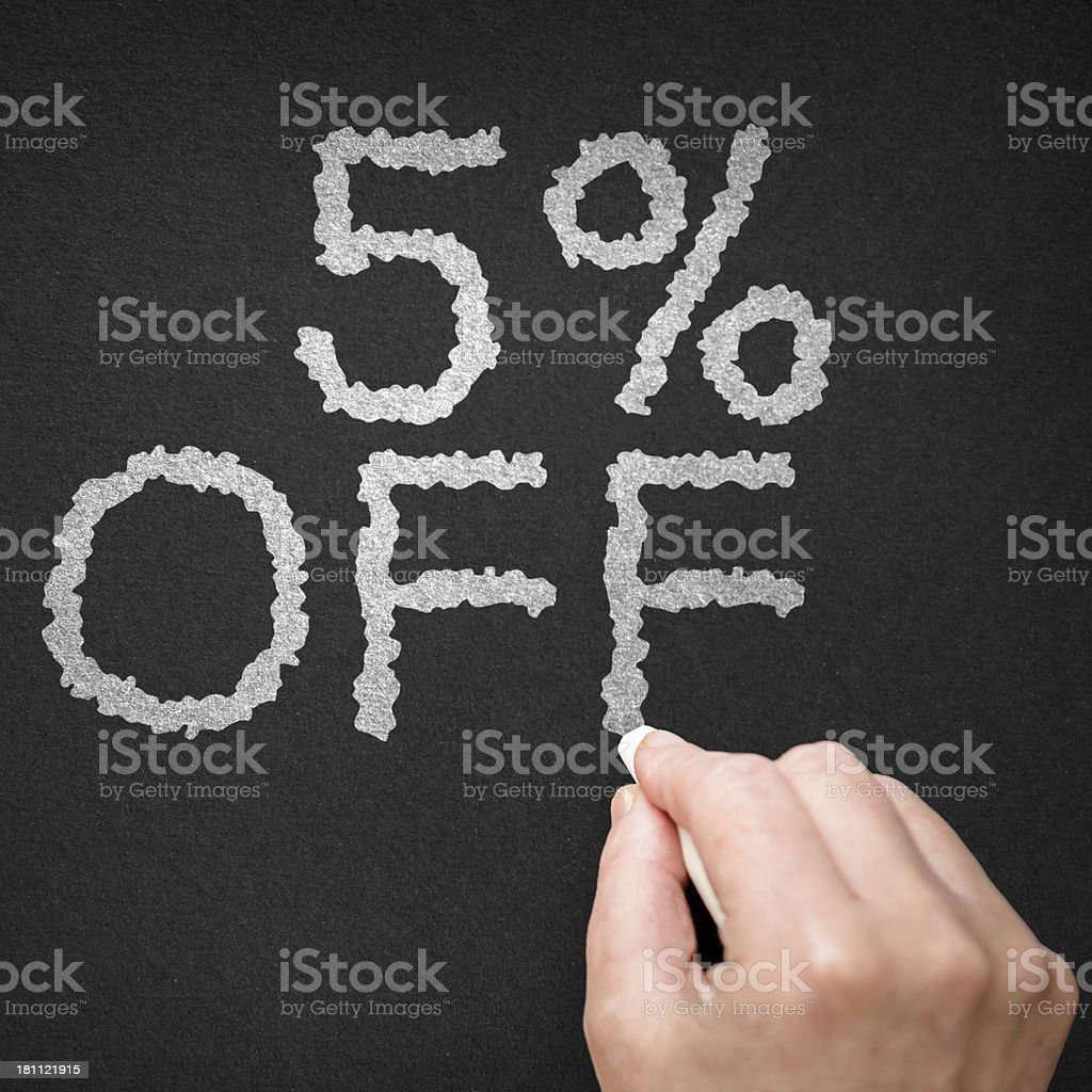 5% off on the blackboard royalty-free stock photo