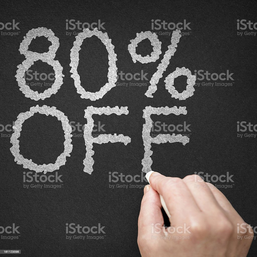 80% off on the blackboard royalty-free stock photo