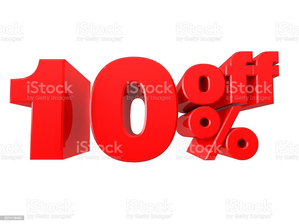 10% Off Promotional Sign Isolated on white background stock photo