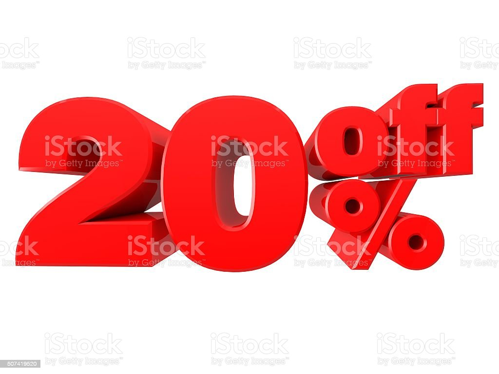20% Off Promotional Sign Isolated on white background stock photo