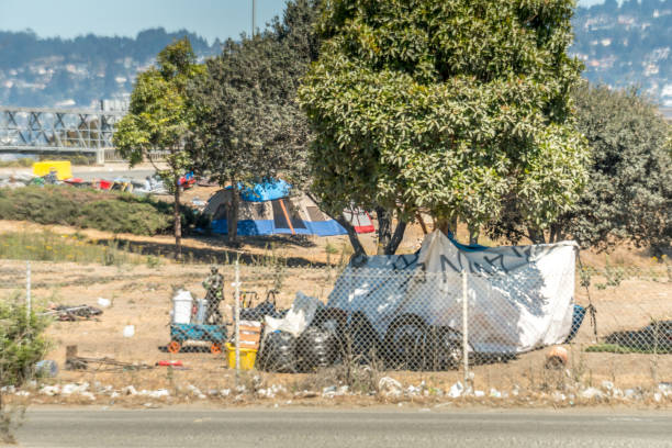 Off Ramp Homeless Camp stock photo