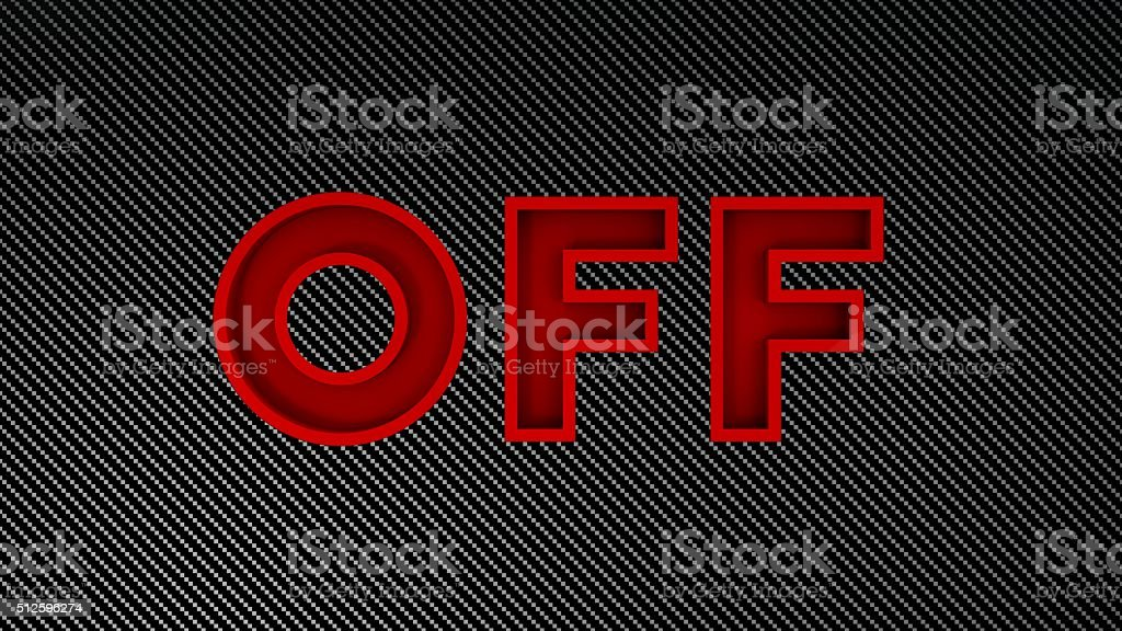 off red text on carbon background stock photo