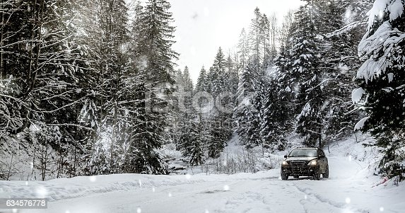 istock Off road car in the winter forest 634576778