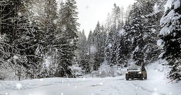 off road car in the winter forest - es schneit text stock-fotos und bilder