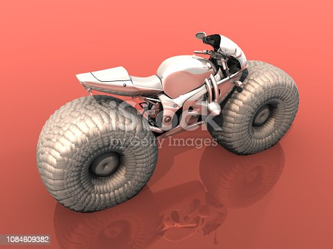 New generation balloon tired motorcycle design for wet surfaces. Thick wheels on motorbike for slippery grounds.