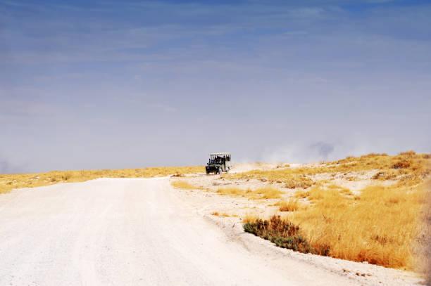 Off - road safari vehicle is driving  in Etosha National Park,Namibia stock photo