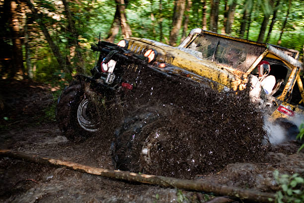 off road truck in trial competition - cable winch stock photos and pictures
