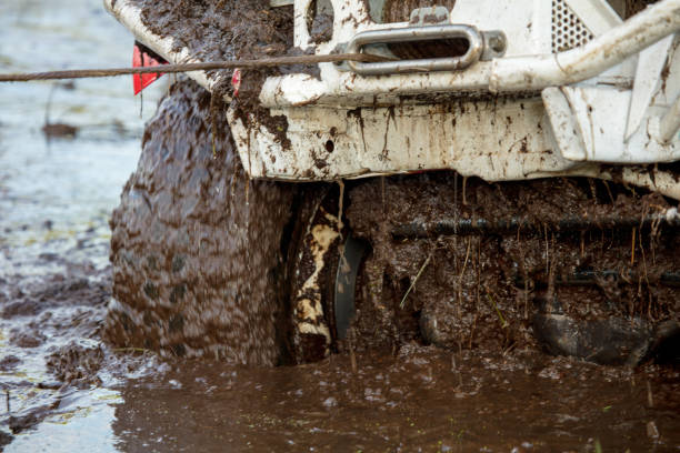 off road vehicle - cable winch stock photos and pictures