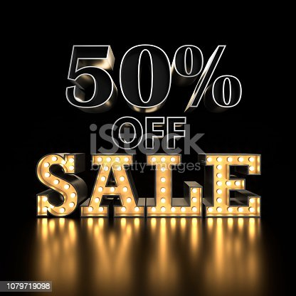 istock 50% off SALE text background. 3d typography. Sale concept 1079719098