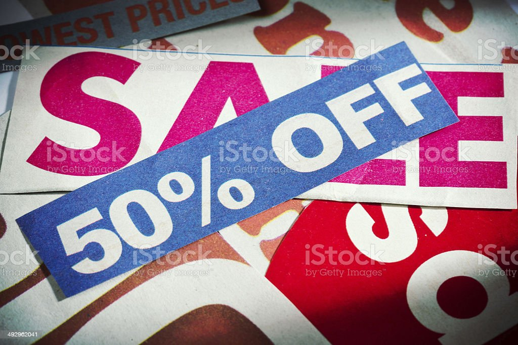50% off say press cuttings concerned with sales. Save now! stock photo