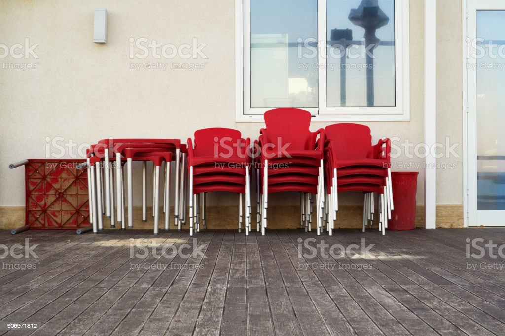 off season bar at the seaside stock photo