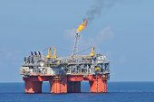 Gulf of Mexico, USA - September 26, 2008: The Atlantis PQ is a floating semi-submersible oil and gas production platform operated by BP and BHP Billiton . It is in almost 7,000 feet of water.