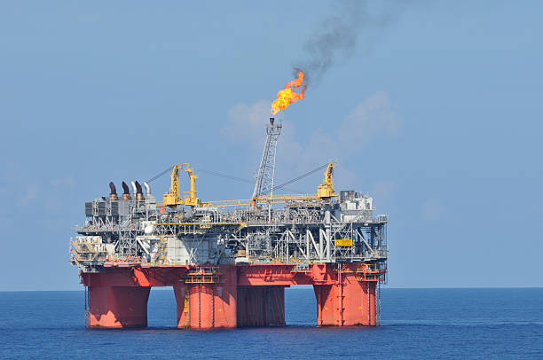 Off shore oil production platform with flare