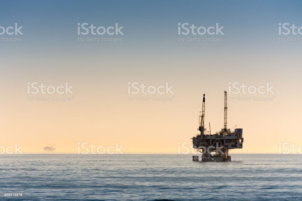 Off shore oil rig drilling off coast of Southern California stock photo