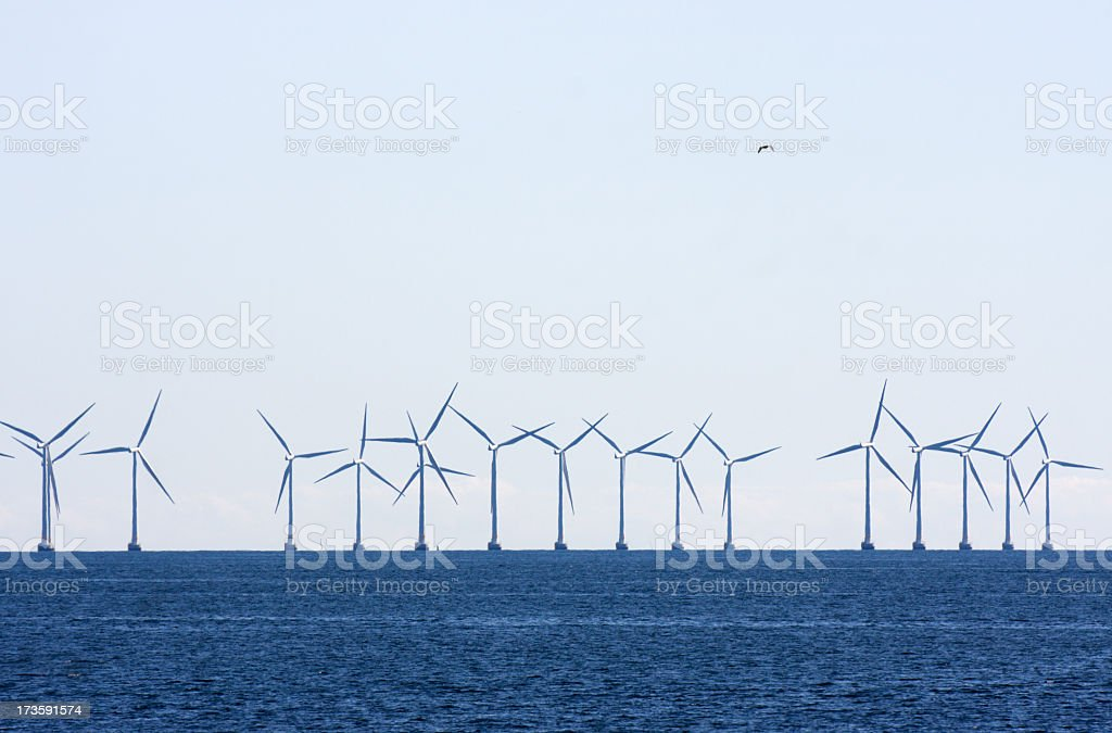 Off shore wind turbines. royalty-free stock photo