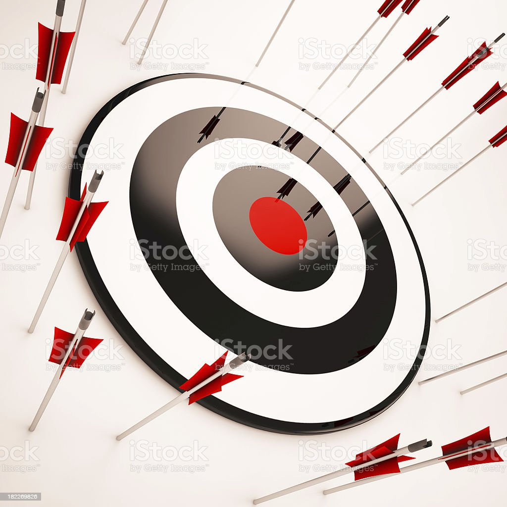 Off Target Shows Aiming Mistake stock photo