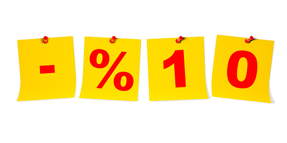 %10 Off Text on Pin Paper