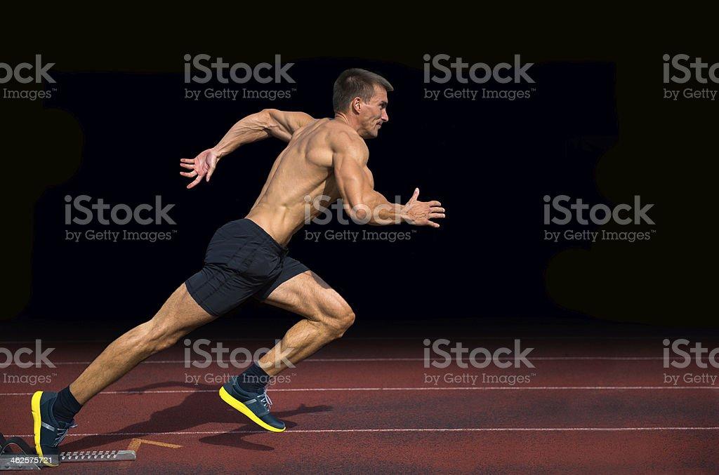 Off the Blocks, Athlete Practicing Start on 100m Sprint stock photo