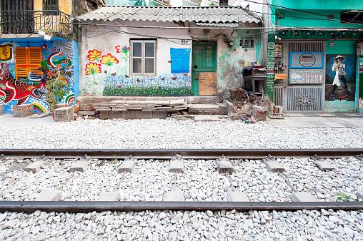 Off the rails, Train Street, Hanoi Old Quarter, North Vietnam
