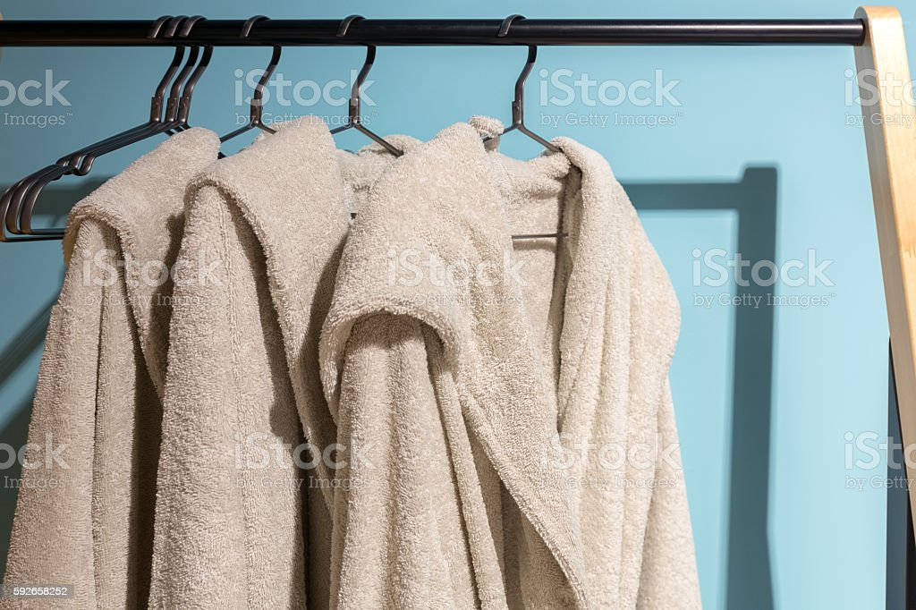 Off white bath gown stock photo