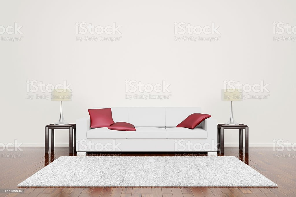 Off White Couch With Red Cushions royalty-free stock photo