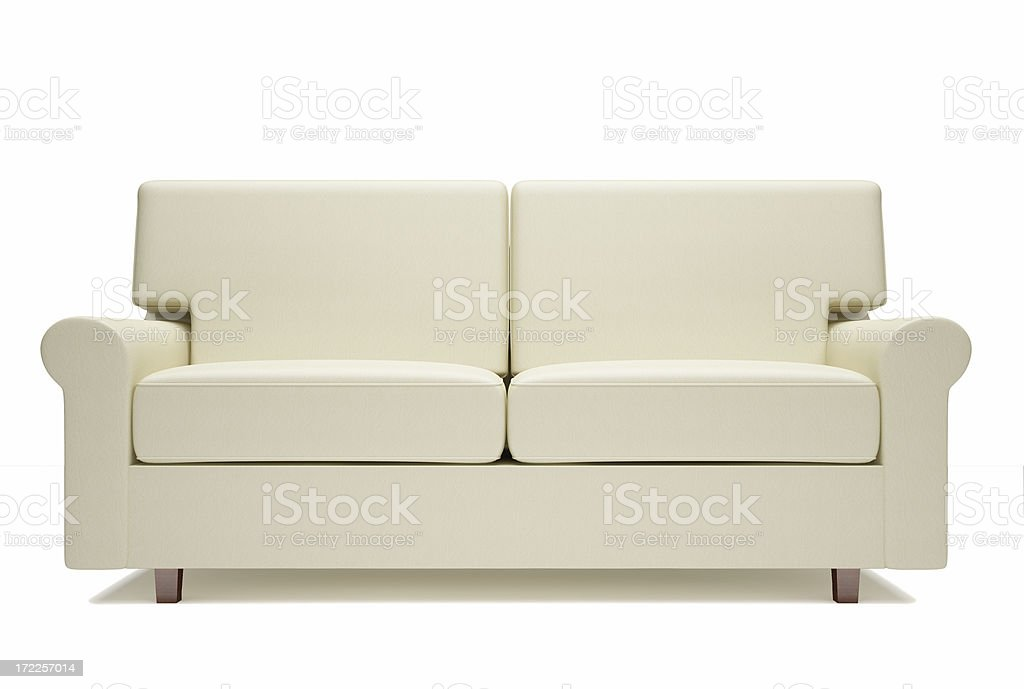 Off White Leather Sofa With White Background Royalty Free Stock Photo