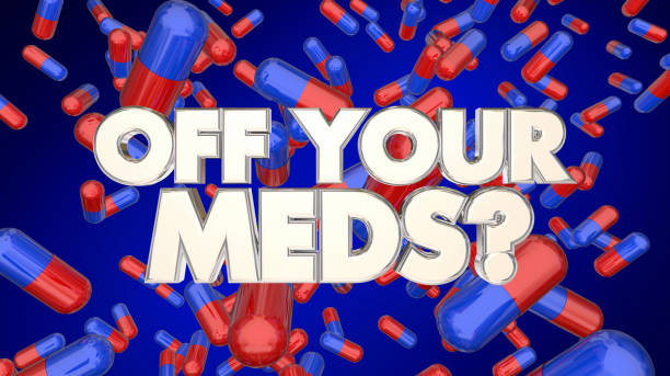 off your meds pills medications drugs treatment 3d illustration - prescription meds stock pictures, royalty-free photos & images