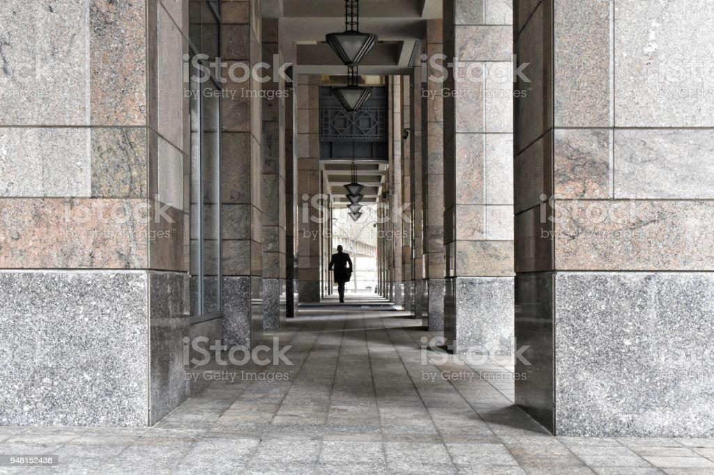 Off-center Figure, Office Building stock photo