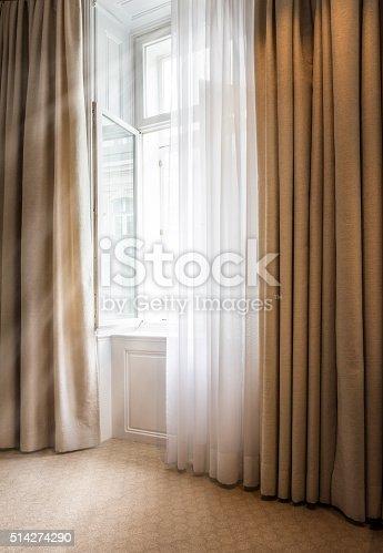 offenes fenster mit gardine stock photo more pictures of bedroom istock. Black Bedroom Furniture Sets. Home Design Ideas