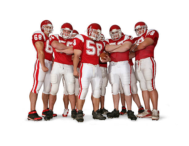 Offensive Line with Clipping Path Offensive line with major attitude.  football lineman stock pictures, royalty-free photos & images